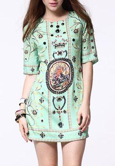 Baroque Short Sleeve Rhinestone Gold Thread Luxury Shift Dress