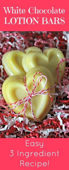 Homemade Lotion Bars that smell like White Chocolate! Easy 3 Ingredient Recipe using coconut oil!   Primally Inspired