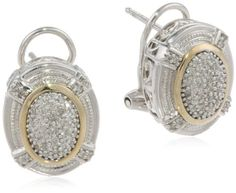 Amazon.com: S&G Sterling Silver and 14k Yellow Gold Oval Pave Diamond Earrings (1/ 4 cttw, I-J Color, I3 Clarity): Jewelry