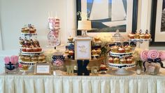 Nautical Wedding:  Woods Hole Country Club:  Sweetheart Cake (Classic Vanilla) with Classic Carrot, Very Berry and Chocolate Chip Cookie Dough Cupcakes