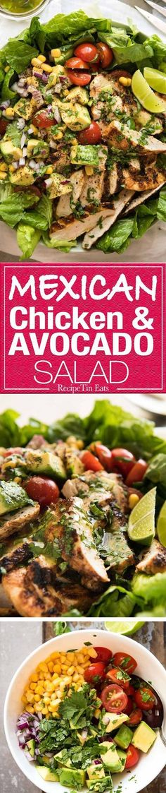 Loaded with all the good stuff! This Mexican Chicken and Avocado Salad is unbelievably good! www.recipetineats.com