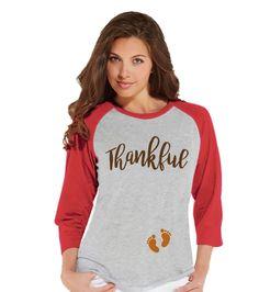 Thanksgiving Pregnancy Announcement - Thankful For Baby - Thanksgiving Pregnancy Reveal Tshirt - Red Raglan - Pregnancy Reveal Shirt