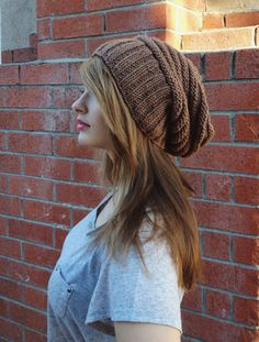 Slouchy Unisex Beanie //  Knit Slouchy Brown Hipster Hat