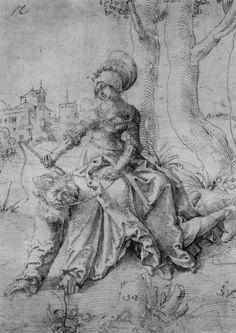 Hans Baldung Grien - Phyllis riding Aristotle (woodcut from Hans Baldung Grien, Landsknecht, Renaissance Artists, Albrecht Durer, Art Database, Office Art, Old Master, Canvas Prints, Art Prints