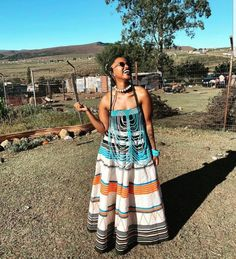 Seshweshwe Dresses, African Maxi Dresses, African Dresses For Women, South African Traditional Dresses, Traditional Outfits, Traditional Weddings, Xhosa Attire, African Attire, African Inspired Fashion