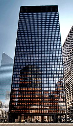 Seagram Building Ludwig Mies van der Rohe  Completed	1958 One of the most important modern iconic buildings in the history of architecture, a bronze clad slab of a tower. Very symmetrical and disciplined in design.