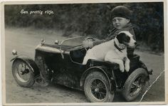 """boy with his wire-haired Jack Russel Terrier out sight-seeing in his """"hot-wheels"""" by janwillemsen, via Flickr"""