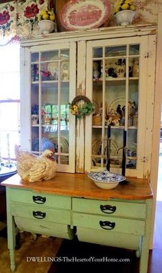 French country--This could be made from 2 pieces of furniture, some paint and imagination