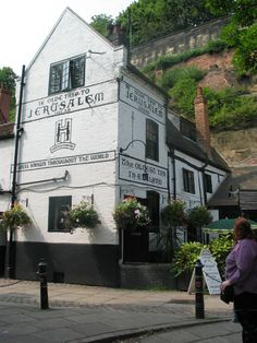 Ye olde trip to Jerusalem pub Nottingham, legend has it that this was one of the starting points for many of the pilgrimages to Santiago de Compestella, Rome and Jerusalem itself. You have a pint here before your long journey starts, it is one of the oldest continually running pubs in England. Behind the pub are the caves that lead beneath Nottingham Castle famous for the Robin Hood stories and having been used by Richard the Third.
