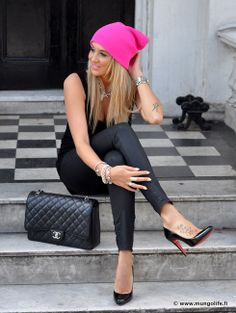 pop of pink #pink #chanel #christianlouboutin