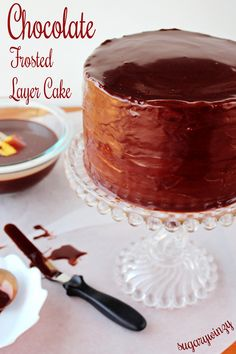 Delicious layer cake covered in chocolate. http://sugarywinzy.com/chocolate-frosted-layer-cake/