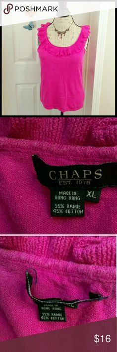 🔥3 for 15🔥Ralph Lauren Chaps - pink ruffled top In great condition. Only flaw is the label inside the shirt is coming undone at the stitching (see pic). Beautiful top to wear anytime. From a smoke and pet free home. I ship fast!  *I take offers on bundles  *No trades  *All offers considered Chaps Tops