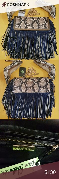 "Sam Edelman Fifi Fringe Clutch NWT Sam Edelman Fifi Leather Suede Fringe Clutch ||| Extravagant Leather Car Wash Fringe Adds Lush, Graceful Movement to a Structured Flap Clutch Made from High Quality Synthetic Leather. An Optional Cross body Chain Strap Adds a Convenient Carrying Option.  - Magnetic Snap Flap Closure  - Detachable Chain Strap - Interior Zip Pocket  - Synthetic with Leather Fringe  - 11.5""W x 6""H x 2""D - 25"" Cross body drop strap - Embrossed Python Flap with Gold lining…"