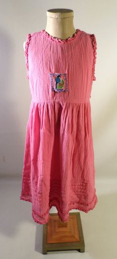 Girls Size 5-6 APRIL CORNELL Dress, Pink Crinkle Texture, Bird, Cottage Style