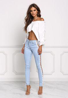 Light Denim Side Lace Up Skinny Jeans - Denim - Bottoms - Clothes