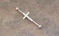 Rosary Cross Industrial Barbell Piercing Upper by MidnightsMojo, $12.00