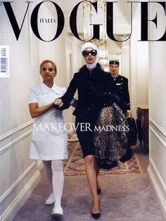 'Makeover Madness' Linda Evangelista photographed by Steven Meisel for Vogue Italia July 2005 Vogue Vintage, Capas Vintage Da Vogue, Vintage Vogue Covers, Foto Fashion, Vogue Fashion, Fashion Art, Editorial Fashion, Fashion Models, High Fashion