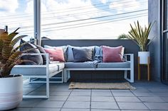 The completed makeover. Outdoor sofa and pots .  Finished product for verandah makeover for The Supa Centre Moore Park… Stylist Heidi Albertini : Photgrapher Heloise Love  www.thelifestyleedit.com.au www.thesupacentremoorepark.com.au Outdoor Sofa, Outdoor Furniture, Outdoor Decor, Moore Park, Centre, Pots, Home Decor, Style, Homemade Home Decor