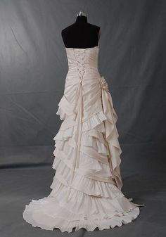 A-line Strapless Sleeveless Court Train Satin Organza Wedding Dress With Ruffle Hand-Made Flower Free Shipping. $219.00, via Etsy.