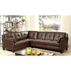 This simply designed contemporary sectional is dressed in leatherette tufted upholstery with added comfort from flared pillow top armrests. The sectional is available in four color options: black, brown, red or white.