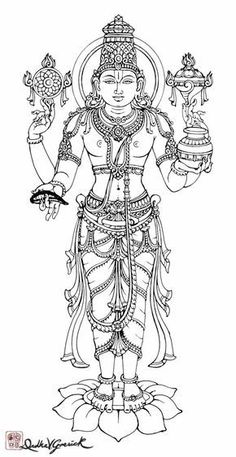Dhanvantar by Drdha Vrata Gorricki_DrdhaVG Mysore Painting, Kalamkari Painting, Kerala Mural Painting, Krishna Painting, Madhubani Painting, Krishna Art, Indian Traditional Paintings, Indian Art Paintings, Outline Drawings