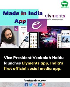 Indias first social media super application Elyments was launched by Vice President Venkaiah Naidu on Sunday. The app was created by more than 1000 IT professionals who came together for Sri Sri Ravi Shankar the founder of the Art of Living.   Launching the app the Vice President termed it as a step towards Atma Nirbhar Bharat and said the youth must be encouraged to come up with Indian alternatives for foreign apps. Elyments is available in eight languages including Tamil Telugu Kannada and… Medium App, India First, Vice President, Telugu, Languages, Presidents, Encouragement, Youth, Sunday