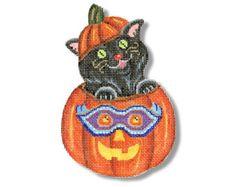 halloween needlepoint canvas | Needlepoint Canvas Halloween Skull Cuff by ADragonsTaleDirect