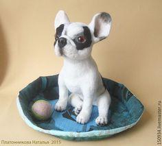 """Купить собака """"Французик"""" - белый, собачка, собака из шерсти, валяная игрушка, валяние из шерсти, подарок"""