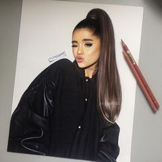 ♡♡♡ new drawing! please tag her and her crew//tell me what u think 🍳 insp Drawing Techniques Pencil, Colored Pencil Techniques, Horse Drawings, Cute Drawings, Ariana Grande Drawings, Celebrity Drawings, Celebrity Caricatures, Dangerous Woman, Pencil Portrait