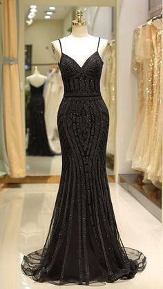 Dresses Short, Black Prom Dresses, Trendy Dresses, Elegant Dresses, Beautiful Dresses, Fashion Dresses, Simple Black Prom Dress, Long Black Sequin Dress, Black Gowns