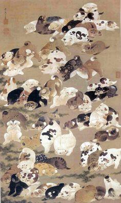 伊藤若冲『百犬図』 Jakuchu Ito | Hundred dogs