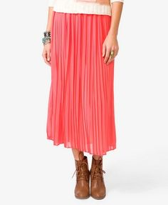 "Chiffon Maxi Skirt - Forever 21  Pleats and elasticized waistband. Finished hemline. Partially lined. Woven. Lightweight. 35"" waist to hem, 24"" waist (small). Also available in Blush and Lavender."