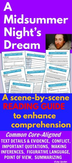 A MIDSUMMER NIGHT'S DREAM - Here's a packet of student response pages that will help students keep track of all of the play's exciting twists and turns. The Reading Guide is neatly designed in scene-by-scene sequence and focuses on Common Core-aligned topics.