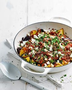 The combination of creamy feta and fresh herbs are the perfect addition to this hearty midweek supper.