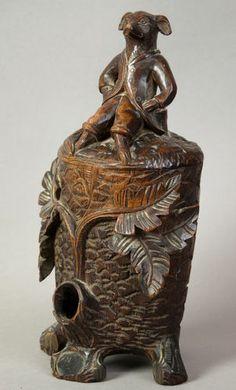 Antique Black Forest Carved Wood Tobacco Jar with Fox CA 1890 | eBay