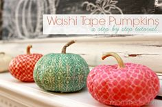 Take your ordinary pumpkins to a whole new level with the DIY Washi Tape Pumpkins! These pumpkins are adorable and make the perfect Halloween or fall decor or even make great fall gifts! Holidays Halloween, Halloween Crafts, Halloween Decorations, Fall Crafts, Holiday Crafts, Crafts For Kids, It's The Great Pumpkin, Washi Tape Crafts, Painted Pumpkins