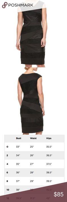 2d0415d2 Jax women black sheath dess $140 Spliced design Faux-leather & faux-suede  details