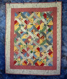 Quilted Pieced Crib Quilt Wall Hanging or Throw  American