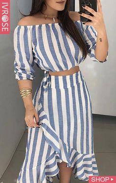Fashion dresses - Striped Off Shoulder Top & Ruffles Skirt Sets Skirt Outfits, Dress Skirt, Skirt Set, Striped Off Shoulder Top, Off Shoulder Tops, Casual Dresses, Casual Outfits, Cute Outfits, Look Fashion