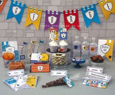 Medieval Knights Birthday Printable Party Collection & Invitation - Editable PDF file - Print at home