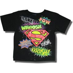 "Amazon.com: Superman ""Pow, Bang, Zoom"" Short Sleeve T-shirt for boys: Clothing. Littls kid clothing:)"
