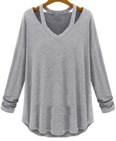 V Neck Hollow Grey T-Shirt 13.22