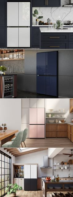To provide homeowners a bigger, bolder, and more personalized way to style their kitchens in 2021, Samsung is introducing a line-up of bespoke refrigerators that will give families an option to choose colors, materials, and finishes according to their personalized choice. Slated to go on sale in the U.S. this year, the fridges will make their debut at the upcoming CES 2021, which is a completely virtual event this year in the shadow of the coronavirus pandemic. Samsung Fridge, Smart Home Appliances, Luxury Rooms, Bespoke Kitchens, New Kitchen, Kitchen Ideas, Trendy Home, House Rooms, Kitchen Design