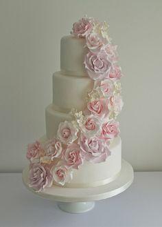 Flower Cascade Wedding Cake - by SugarRuffles @ CakesDecor.com - cake decorating website