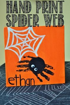 Dworianyn Love Nest: 31 Days of Halloween: Day 26 - Hand Print Spider Canvas, Toddler Craft, Fall Craft for kids