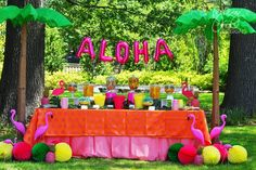 Colorful luau candy table