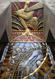 art deco - Wisdom, with Light and Sound, 30 Rockefeller Center, NYC: Lee Lawrie, 1933.