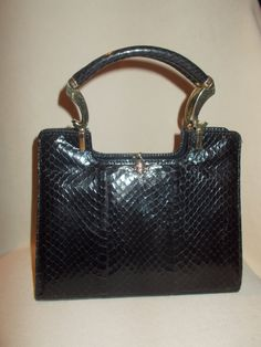 c7ee0e73ccaf beautiful vintage 1960 s black snake skin handbag by VintageHandbagDreams  on Etsy Snake Skin