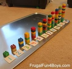 Two Preschool Math Activities with Duplo Legos - Frugal Fun For . Two preschool math activities using Duplo Legos. These are great for younger brother while the older ones do their schoolwork! How to Teach Your Child to Read - Two independent activities f Preschool Learning Activities, Montessori Activities, Toddler Activities, Preschool Activities, Kids Learning, Space Activities, Montessori Elementary, Montessori Materials, Preschool Kindergarten