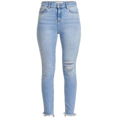 STUDIO HIGH WAIST ANKLE DESTROYED SKINNY FIT JEANS ($66) ❤ liked on Polyvore featuring jeans, pants, high waisted ripped skinny jeans, high-waisted jeans, blue jeans, high rise skinny jeans and distressed jeans